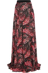 Giambattista Valli Printed Silk Georgette Maxi Skirt Black Red
