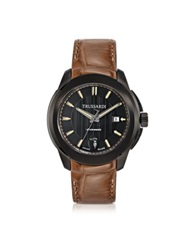 Trussardi T01 Gent Black Stainless Steel W Brown Croco Strap Men's Automatic Watch