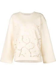 Stella Mccartney Embroidered Flower Sweater Nude And Neutrals