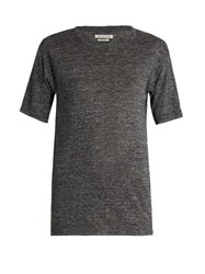 Etoile Isabel Marant Keiran Short Sleeved Linen T Shirt Grey