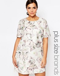 Truly You Floral Jacquard Short Sleeve Shift Dress Multi