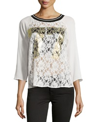 Romeo And Juliet Couture Lace And Plisse Chiffon Spirit Tee Ivory