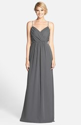 Women's Jim Hjelm Occasions 'Luminescent' Draped V Neck A Line Chiffon Gown Gunmetal