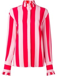 Msgm Striped Blouse Red