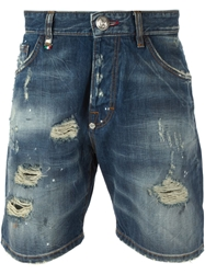 Philipp Plein Distressed Denim Shorts Blue