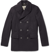 Burberry Slim Fit Wool Blend Peacoat Blue