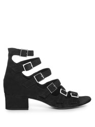 Saint Laurent Babies Buckle Strap Suede Sandals Black