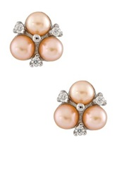 Cz And 5 5.5Mm Pink Freshwater Pearl Cluster Earrings