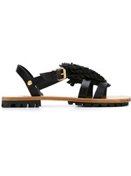Vivienne Westwood Flat Flower Detail Sandals Black
