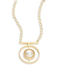 Design Lab Lord And Taylor Faux Pearl Pendant Necklace Gold