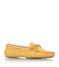 Tod's Laced Gommino Nubuck Driving Shoe Female Yellow