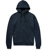 Dolce And Gabbana Loopback Cotton Jersey Zip Up Hoodie Petrol