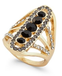 Inc International Concepts Gold Tone Black Stone And Pave Linear Ring Only At Macy's