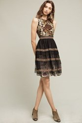 Anthropologie Embroidered Vigne Dress Green Motif