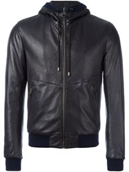 Dolce And Gabbana Leather Hooded Jacket Blue
