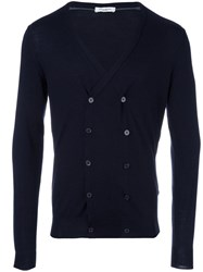 Paolo Pecora Double Breasted V Neck Cardigan Blue