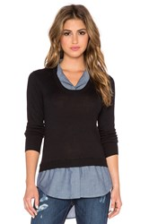 Central Park West Cologne Layered Button Up Sweater Black