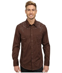 Long Sleeve Snap B2s3027 Brown Men's Long Sleeve Button Up
