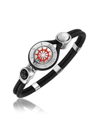 Forzieri Rudder And Compass Stainless Steel And Rubber Bracelet Silver