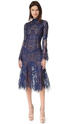 Jonathan Simkhai Mock Neck Lace Flare Midi Dress Navy
