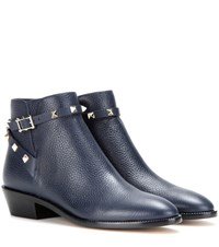 Valentino Rockstud Leather Ankle Boots Blue