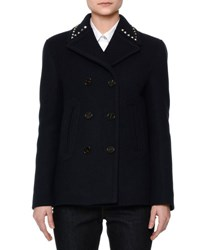 Valentino Wool Pea Coat W Rockstud Collar Navy