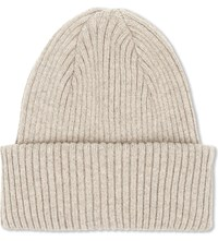 Paul Smith Ribbed Cashmere Beanie Tan