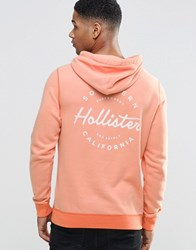 Hollister Overhead Hoodie With Back Print In Coral Slim Fit Coral Red