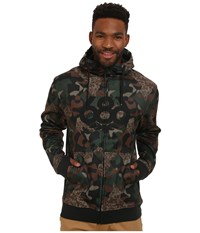 686 Icon Bonded Zip Fleece Hoodie Hunter Cubist Camo Men's Sweatshirt Brown