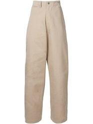 E. Tautz Wide Leg 'Core Field' Trousers Nude And Neutrals