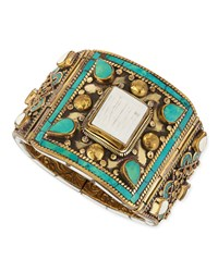White Shell And Turquoise Brass Bangle Multi Colors Devon Leigh