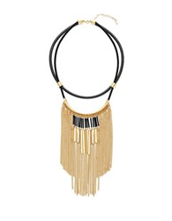 Steve Madden Cable Chain Fringe And Double Strand Leather Necklace Gold