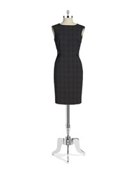 Tahari Arthur S. Levine Leatherette Accented Sheath Dress Grey Black