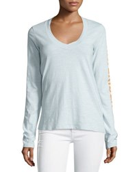 James Perse Long Sleeve V Neck Graphic T Shirt Lucite V