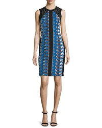 Carmen Marc Valvo Sleeveless Printed Cocktail Dress Size 12 Cerrulean