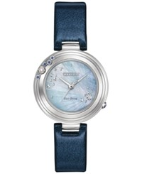 Citizen Women's Carina Diamond And Sapphire Accent Dark Blue Leather Strap Watch 28Mm Em0461 06Y Limited Edition