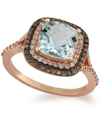 Effy Collection Effy Aquamarine 1 7 8 Ct. T.W. And White 1 4 Ct. T.W. And Brown 1 6 Ct. T.W. Diamond Ring In 14K Rose Gold Blue