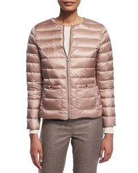 Peserico Cropped Two Zip Puffer Jacket Pink