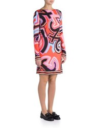 Emilio Pucci Jersey Monogram Print Silk Blend Dress Coral Multi