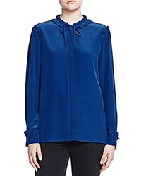 The Kooples Silk Ruffle Detail Shirt Navy