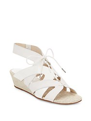 Donald J Pliner Dalie Leather And Patent Leather Lace Up Wedge Sandals White