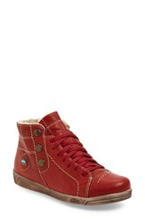 Women's Cloud 'Alicia' High Top Sneaker Red Leather