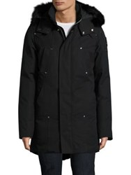 Moose Knuckles Stirling Fox Fur Trimmed Parka Navy Grey White Black