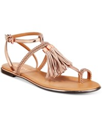 Report Citrine Flat Tassel Sandals Women's Shoes Rose Gold