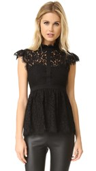 Rachel Zoe High Neck Paneled Lace Blouse Black