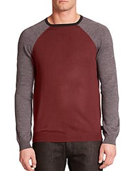 Armani Collezioni Raglan Sleeved Fine Knit Thermal Sweater Burgundy