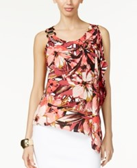 Thalia Sodi Embellished Flutter Blouse Only At Macy's Coral Combo