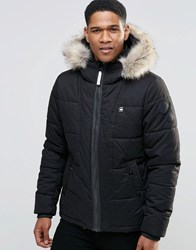 G Star Whistler Jacket With Faux Fur Hood Black