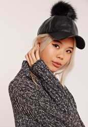 Missguided Faux Leather Pom Pom Hat Black Black