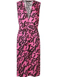 Andrea Marques Midi V Neck Printed Dress Pink And Purple